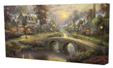 Sunset on Lamplight Lane Stretched Canvas Print by Thomas Kinkade