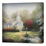 Hometown Chapel Stretched Canvas Print by Thomas Kinkade
