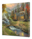 Mountain Paradise Stretched Canvas Print by Thomas Kinkade