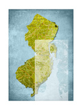 New Jersey Cut Out Blue Giclee Print by Andrew Sullivan