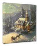 Sunday Evening Sleigh Ride Stretched Canvas Print by Thomas Kinkade