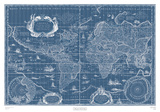 Blueprint World Map Art by Willem Janszoon Blaeu