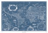 Blueprint World Map Art by Willem Janszoon Blaeu
