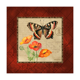 Butterfly & Poppies Premium Giclee Print by Gregory Gorham