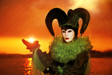Harlequin in Green Costume Photographic Print by Ursula Kuprat
