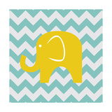 Chevron Elephant Giclee Print by N Harbick