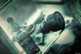 Gas Mask Whiskey Fridge Processing Color Photographic Print by  Noro8