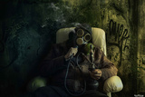 Gas Mask Water Pipe Decay Chair Dark Col Photographic Print by  Noro8