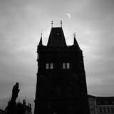 Old Karluv Tower with New Moon Photographic Print by Mishu Vass