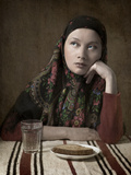 Girl with Bread Photographic Print by Maria Kanevskaya