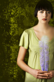 Woman in Green Dress with Blue Feather Photographic Print by Ricardo Demurez