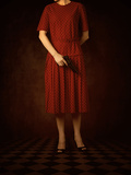Woman in Red Dress with Pistol Reproduction photographique par Ricardo Demurez