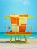 Oragne and Yellow Guardshack, Miami Beach Photographic Print by Dolores Smart