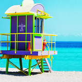 Purple and Green Lifeguard Shack Photographic Print by Dolores Smart