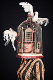 Woman with Birdcage 3 Photographic Print by Max Hertlischka