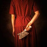 Woman in Red Dress with Butcher's Cleaver Reproduction photographique par Ricardo Demurez