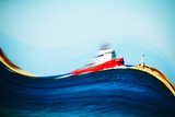 Where are You Going Little Boat Photographic Print by Antonis Gourountis