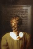 Woman with Tile Reading Noticeboard Reproduction photographique par Ricardo Demurez