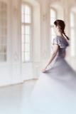 Woman in White Dress in VIntage Interior Reproduction photographique par Ricardo Demurez