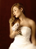 Woman in Wedding Dress with White Rose Photographic Print by Ricardo Demurez