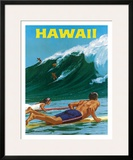 Big Wave Surfimg Framed Giclee Print by Chas Allen