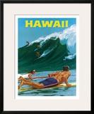 Big Wave Surfimg Framed Giclee Print by Chas Allen