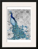 Monochrome Peacocks Grey Prints by Nicole Tamarin