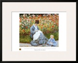 Camille Monet & Child in Artists Garden Art by Claude Monet