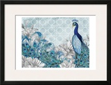 Monochrome Peacocks Blue Prints by Nicole Tamarin