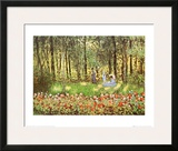 Artist's Family in the Garden at Argenteuil Posters by Claude Monet