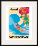 Continental Hawaii Surfer c.1960's Framed Giclee Print