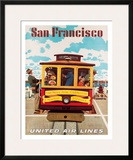 United Air Lines San Francisco, Cable Car c.1957 Framed Giclee Print by Stan Galli