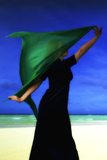 Woman on the Beach with Green Scarf Photographic Print by Ricardo Demurez