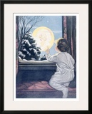 Santa Claus Moon Framed Giclee Print by Katherine R. Wireman