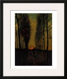 Lane of Poplars at Sunset Framed Giclee Print by Vincent van Gogh