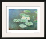 Water Lilies by Nightfall Print by Claude Monet