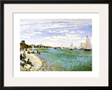 The Beach at Sainte Adresse Framed Giclee Print by Claude Monet