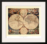 World Map Prints by Nicholas Visscher