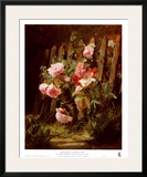 Pink Roses by a Garden Fence Posters by Alfred-Frederic Lauron