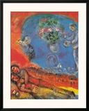 Pareja sobre fondo rojo Lámina por Marc Chagall