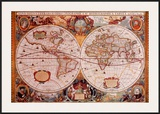 Antique Map, Geographica, c.1630 Posters by Henricus Hondius