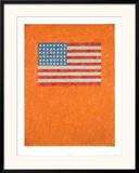 Flag on Orange Field Print by  Johns