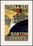 Cunard Line, Boston to Europe Framed Giclee Print
