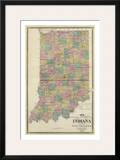 New Sectional and Township Map of Indiana, c.1876 Posters by A. T. Andreas