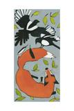 Magpies and Fox, 2013 Reproduction procédé giclée par Megan Moore