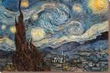 Stjernenatten, Starry Night, ca. 1889 Lærredstryk på blindramme af Vincent van Gogh