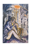 Sax Player, 1998 Giclee Print by Hilary Rosen
