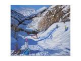 Shadow of a Fir Tree, And Skiers Tignes, 2014 Impression giclée par Andrew Macara