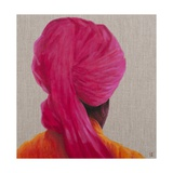 Pink Turban, Orange Jacket, 2014 Giclee Print by Lincoln Seligman