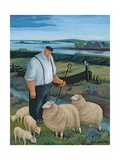 Shepherd with Sheep in River Landscape Giclee Print by Margaret Loxton